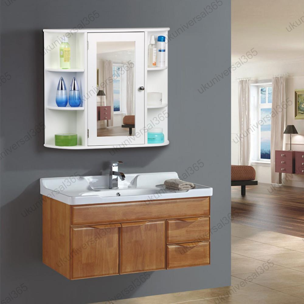 white wooden mirrored bathroom cabinet wall mounted storage shelves