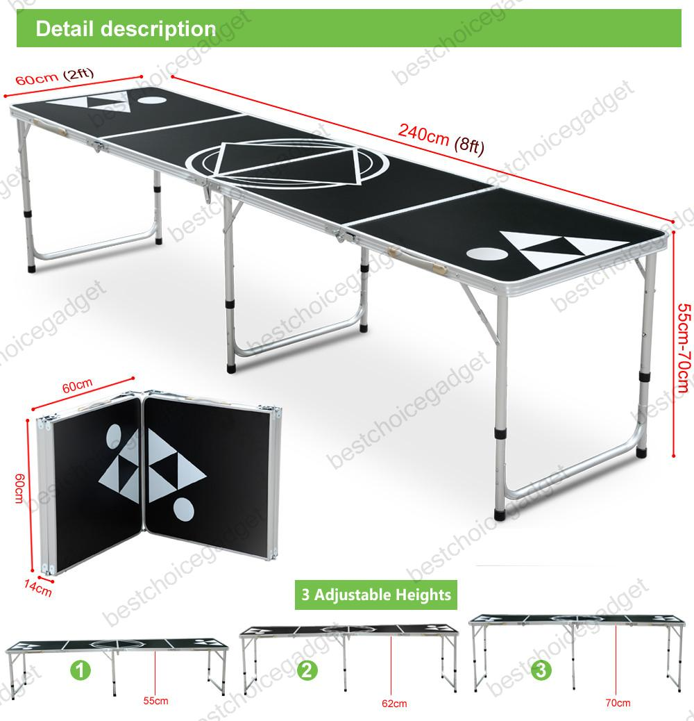 Foldable aluminum 8 39 folding beer pong table portable for Championship table 98 99