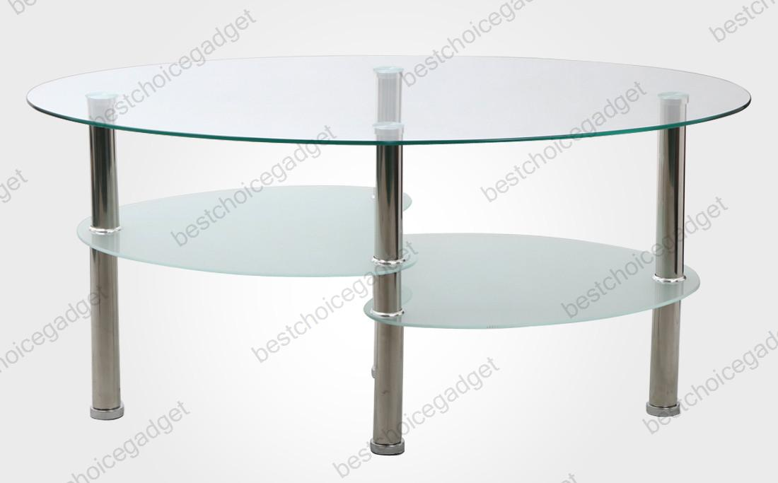 Modern Design Glass Coffee Table Oval Shape Side End Table Living Room Furniture Ebay