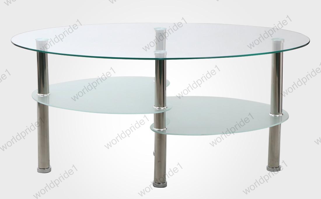 Modern living room oval round glass coffee table stainless - Round glass tables for living room ...