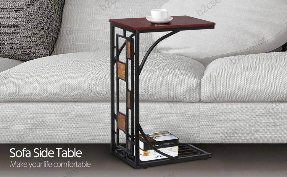 Living Room Sofa Side End Snack Coffee Table Stand Tray