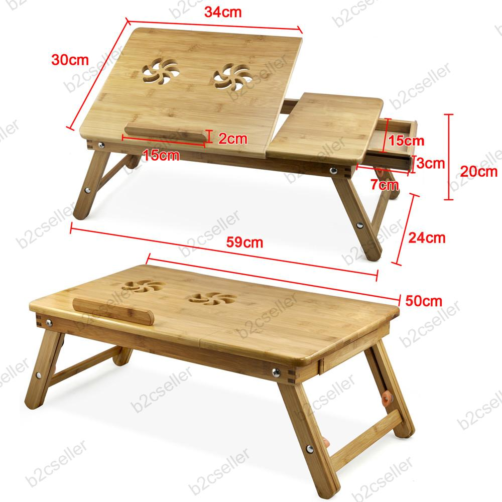 Uk portable bamboo laptop table bed tray pc desk folding for Pc bed table
