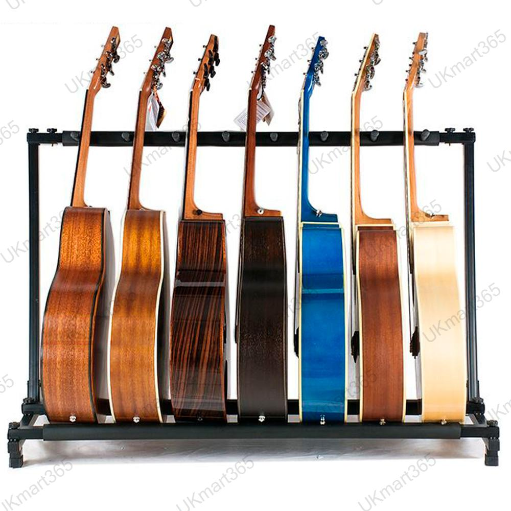 multi guitar stand 7 holder folding organizer rack stage. Black Bedroom Furniture Sets. Home Design Ideas