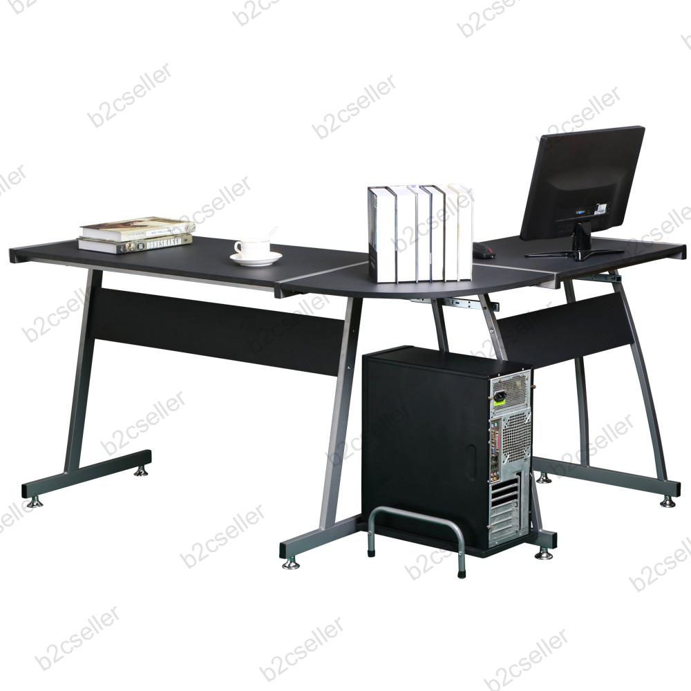 L Shaped Corner Computer Pc Desk Table Workstation Home Office Furniture Black