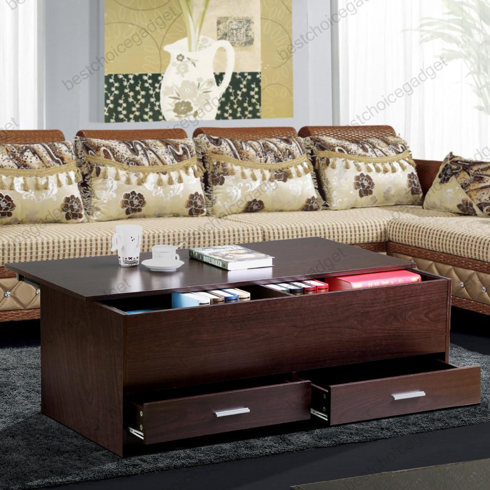 Lane Sliding Door Coffee Table: Espresso Finish Wood Trunk Coffee End Table With Sliding