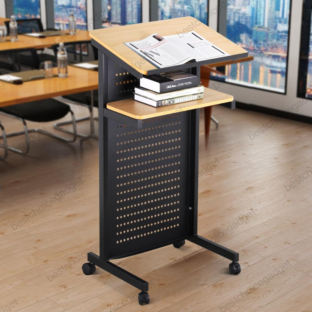 Wheeled Lectern Rolling Podium Mobile Compact Stand Up Desk W