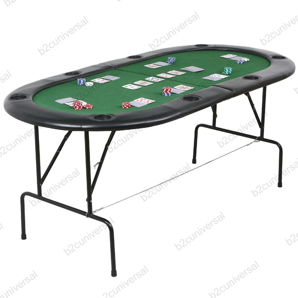 Folding poker table top in green speed cloth with leather for 10 person poker table top
