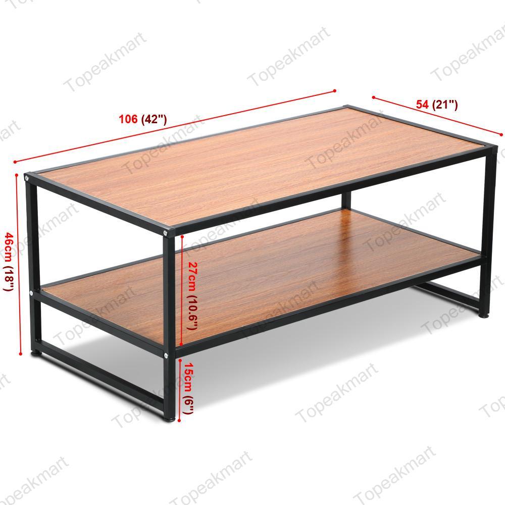 Coffee Table 3 Layers Black Square Metal Legs: Modern Rectangular Wood Coffee Table Black Metal Shelf