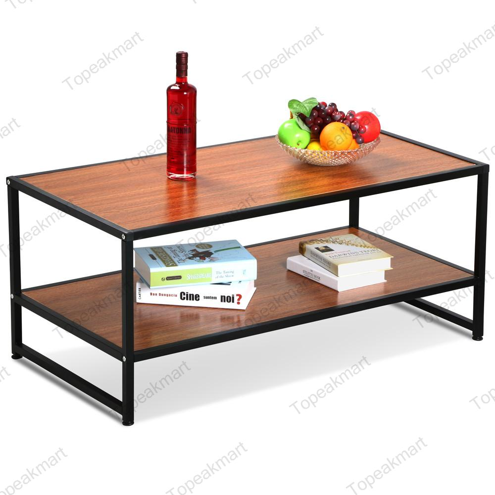 Modern Wood Coffee Table: Modern Rectangular Wood Coffee Table Black Metal Shelf