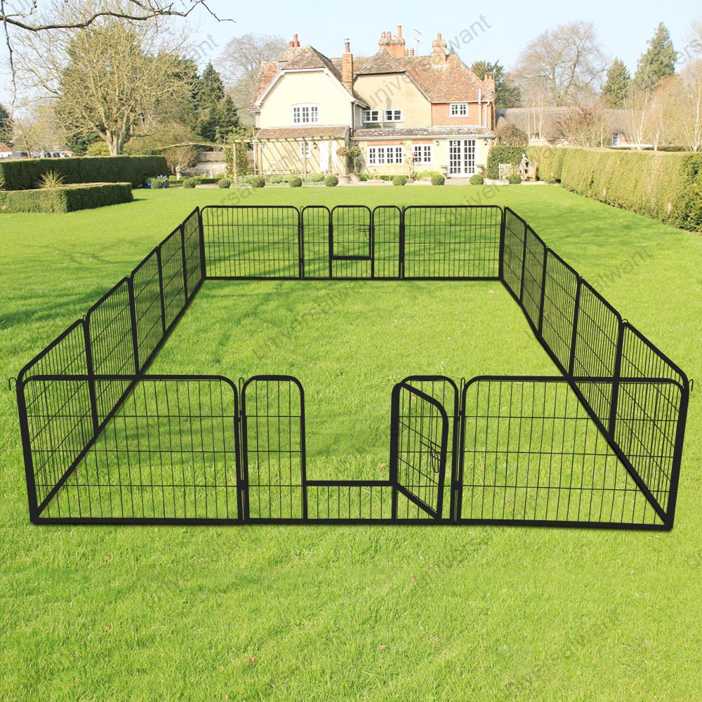 Large 16 Panels Pet Dog Cat Metal Exercise Barrier Fence ...