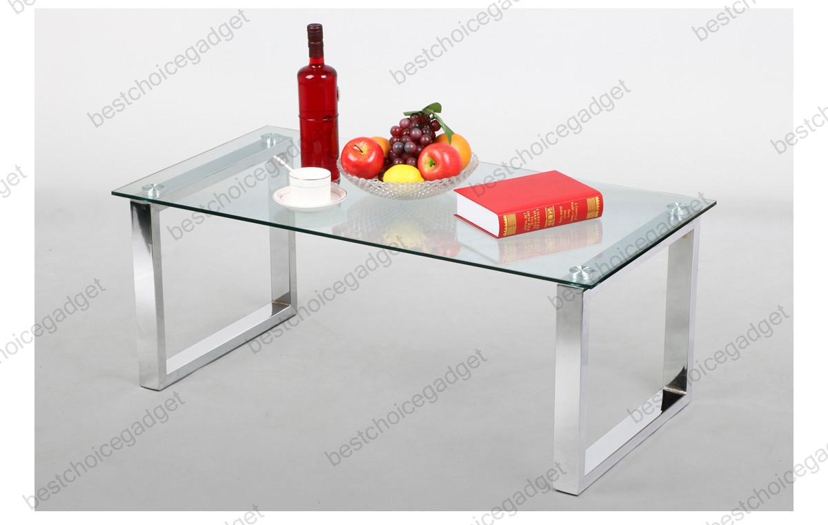 Modern glass top cocktail coffee table chrome finish legs for Spl table 98 99